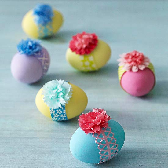 Banded Easter Eggs with Paper Flowers