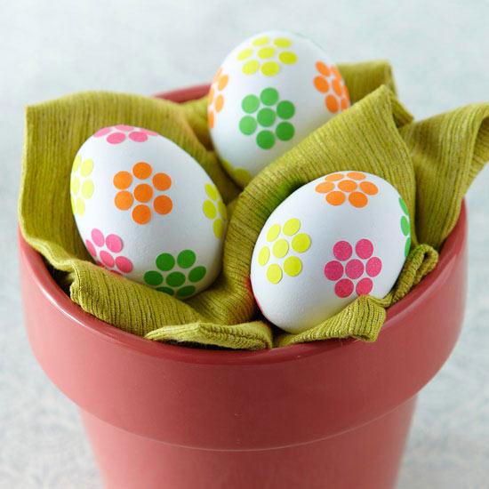 Flower Sticker Easter Eggs