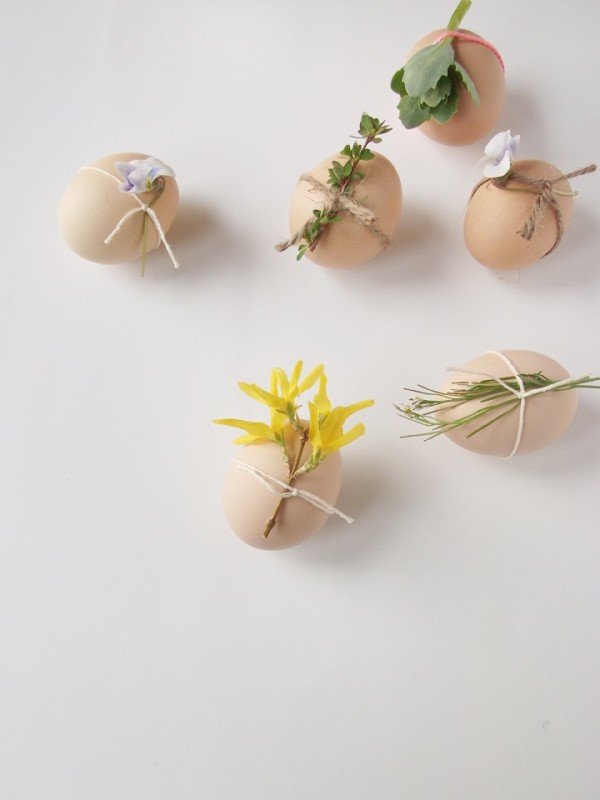 Natural Plant and Twine Decorated Eggs