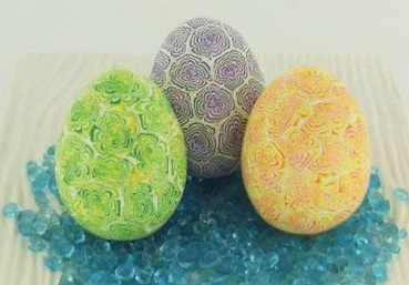 Oven-baked Clay Chrysanthemum Easter Eggs