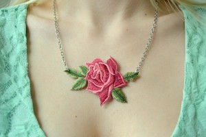 Tattooed Martha Rose Patch Necklace