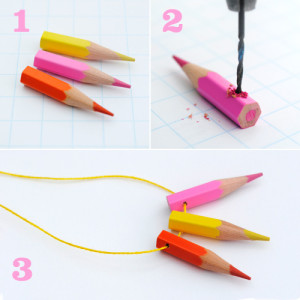 Tri-Color Colored Pencil Necklace
