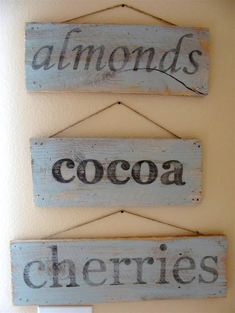 almonds cocoa cherries wooden signs
